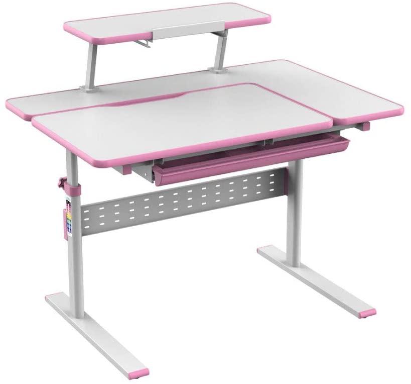School Ergonomic Desk - Height Adjustable Children Study Table - Comfort Student Office Desks for Writing Homework - Tilted Desktop and Storage Drawer with Book Stand (Pink)
