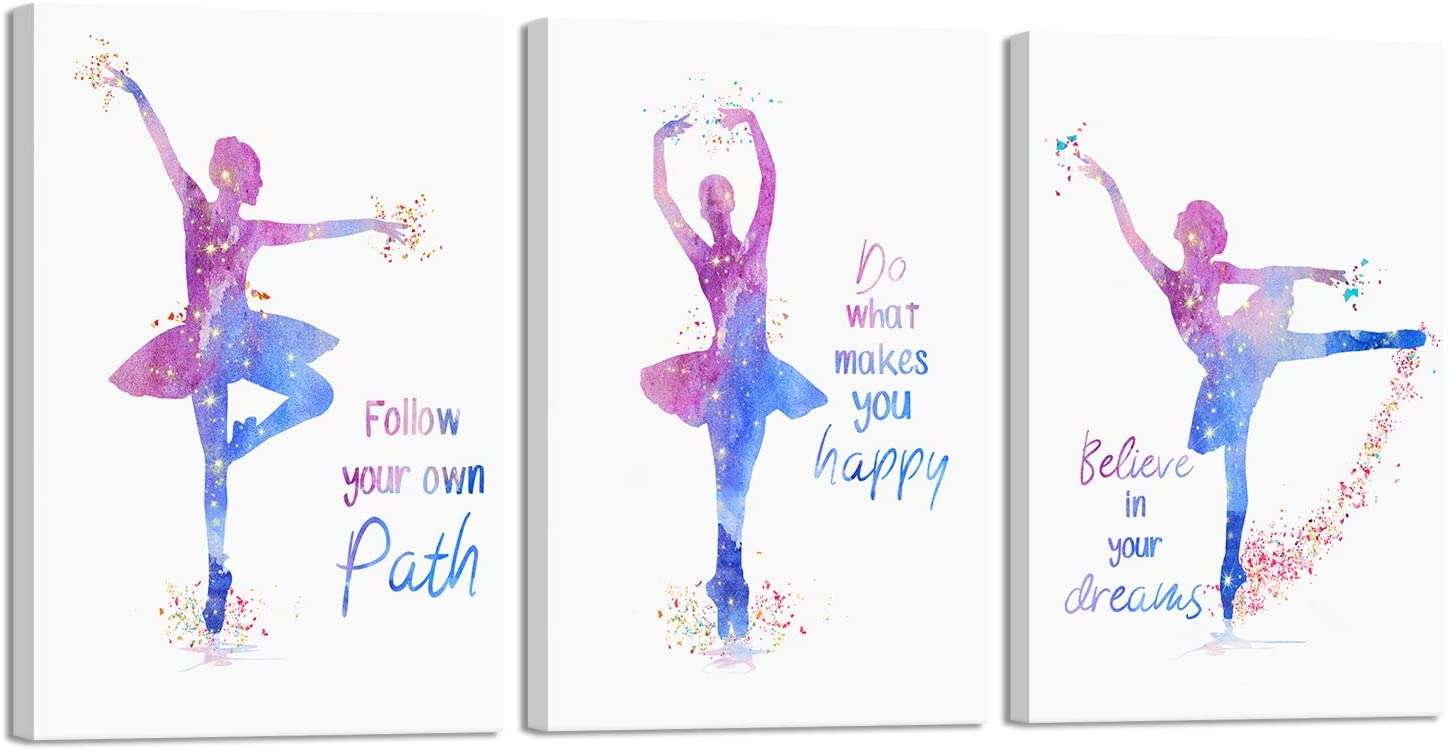 Bedroom Pictures Wall Decor for Girls Room Decorative Ballet Dancers Dance Wall Art Paintings on Canvas Print Nursery Decoration for Womens Rooms 3 Pieces 12x16 inch