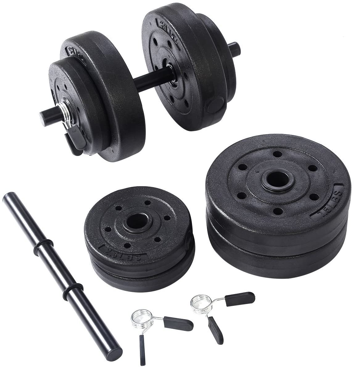 Goplus Weight Dumbell Set 40 LB Adjustable Cap Gym Barbell Plates Body Workout