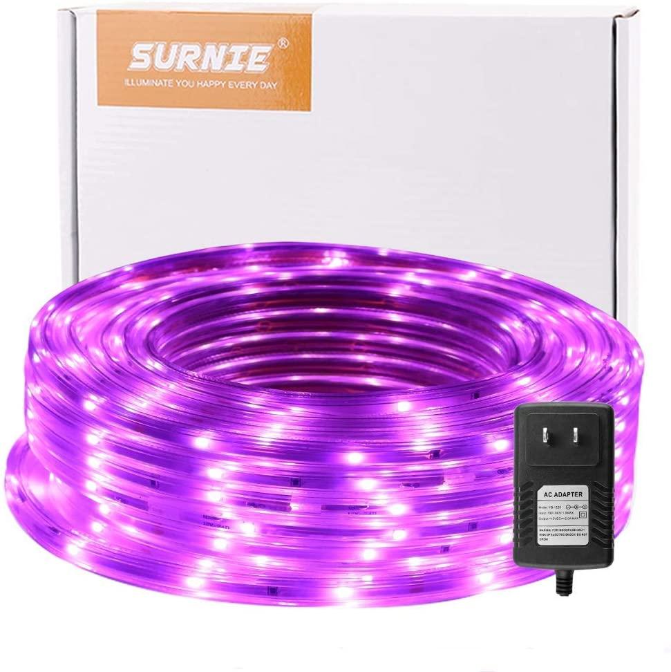 SURNIE Rope Lights Outdoor 50ft Flat Waterproof Led Rope Lighting Pink Purple Led Rope Lights Cuttable Strip Lihgts Outdoor Yard Bedroom Patio Christmas Indoor