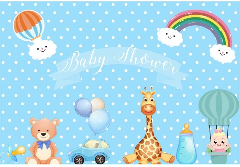 OFILA Baby Shower Backdrop Polyester Fabric 8x5ft Girls Boys Baby Shower Party Photos Background Cute Animals Cartoon Rainbow Hot Air Balloons Photos Gender Reveal Party Decoration Studio Props