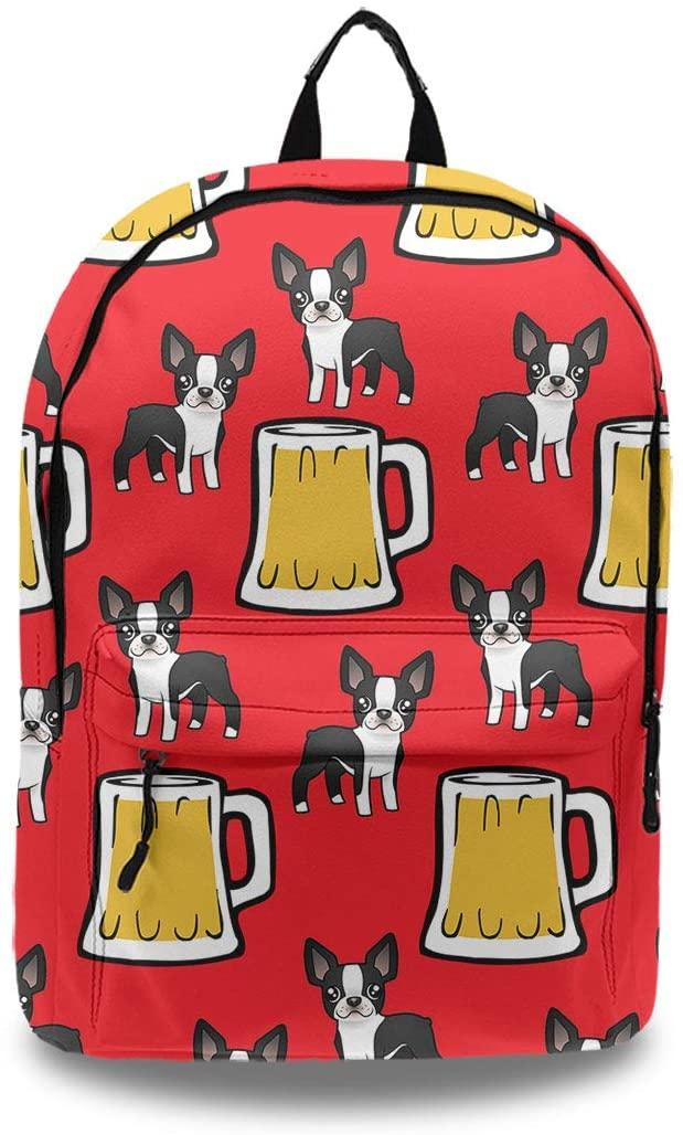 PU Leather Backpack Happy New Year Boston Terriers With Beer for Women Girls Ladies, Lightweight and Anti-Theft Backpack Travel Bag with Laptop Computer Compartment