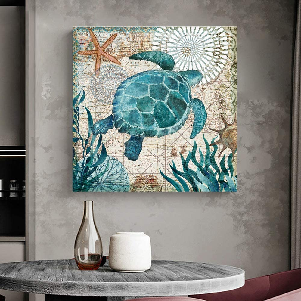 Wall Art Oil Paintings on Canvas Print Sea Turtle Ocean Animal Nautical Map Office Artwork Home Decoration Living Room Bedroom Bathroom Giclee Walls Decor,Wooden Framed Ready to Hang 12x12in
