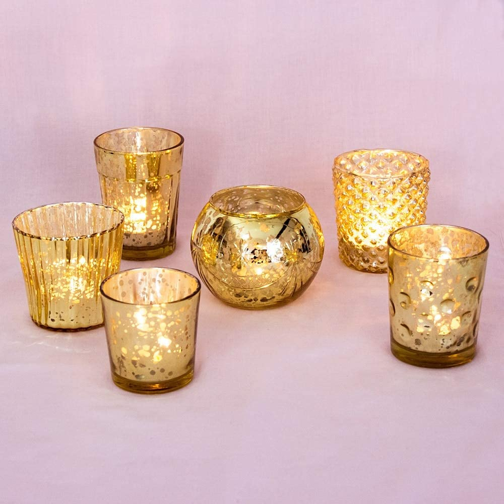 Luna Bazaar Best of Show Vintage Mercury Glass Tealight Votive Candle Holders (Gold, Set of 6, Assorted Designs) - for Weddings, Events, Parties, and Home Décor, Ideal Housewarming Gift