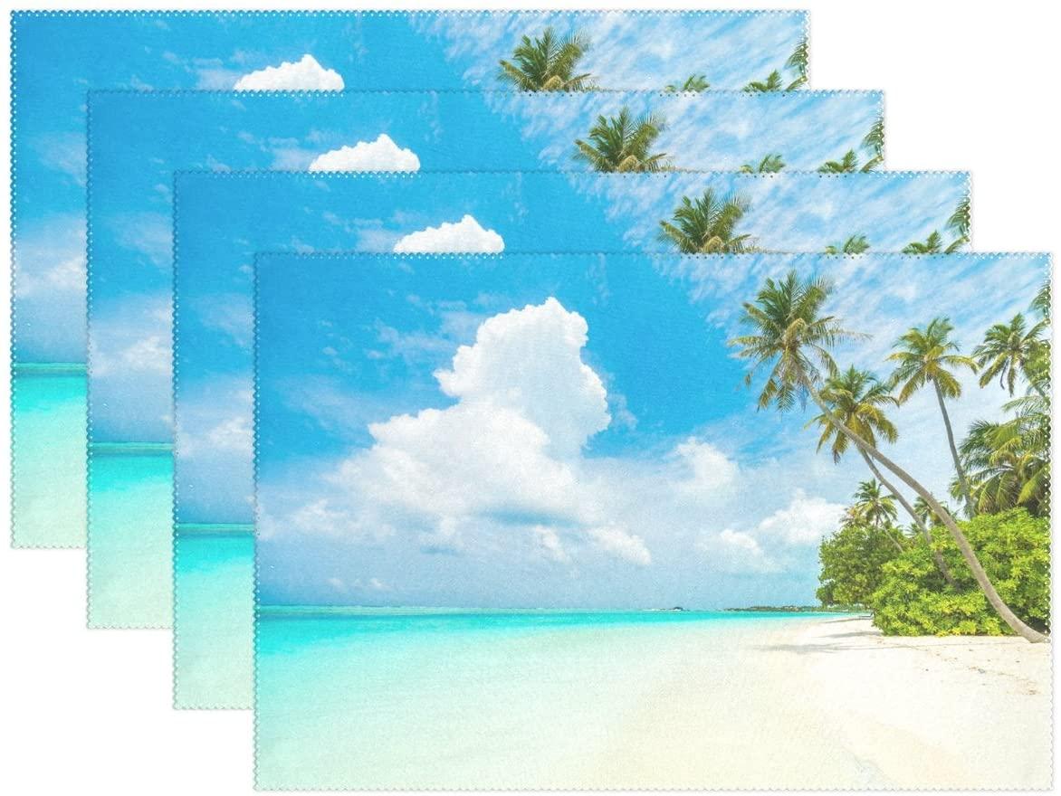 WOZO Sunny Beach Palm Tree Placemat Table Mat, Ocean Blue Sky Cloud 12
