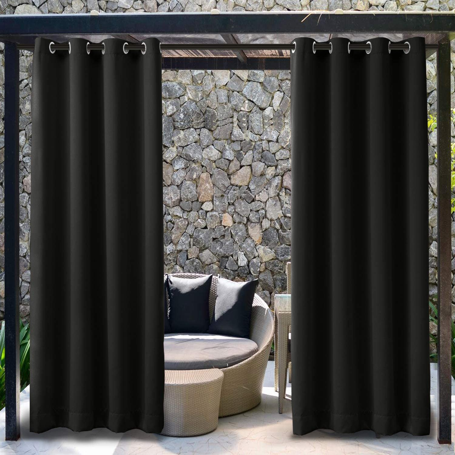TWOPAGES Outdoor Pavilion Black Curtain Extra Wide Waterproof Curtain with Rustproof Grommet, Blackout Privacy Drape (1 Panel, 150 Inches Wide by 96 Inches Long)