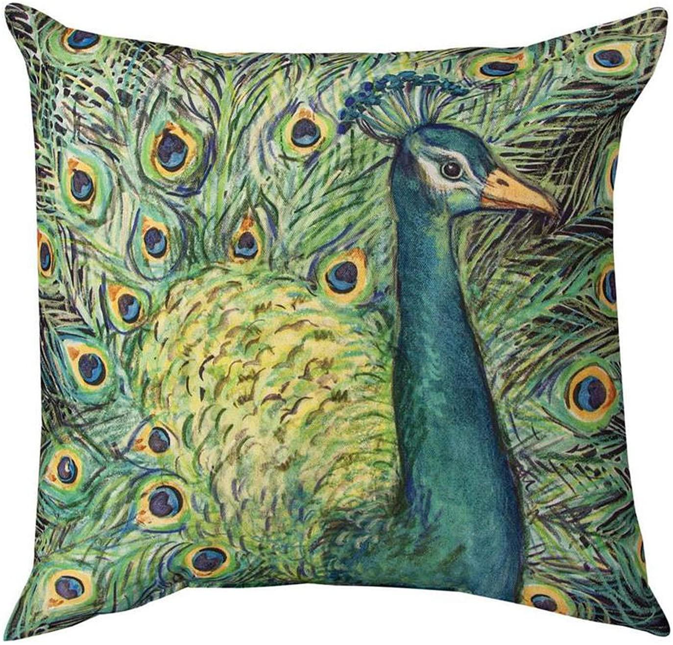KensingtonRow Home Collection Throw Pillows - Majestic Peacock Indoor Outdoor Pillow - 18