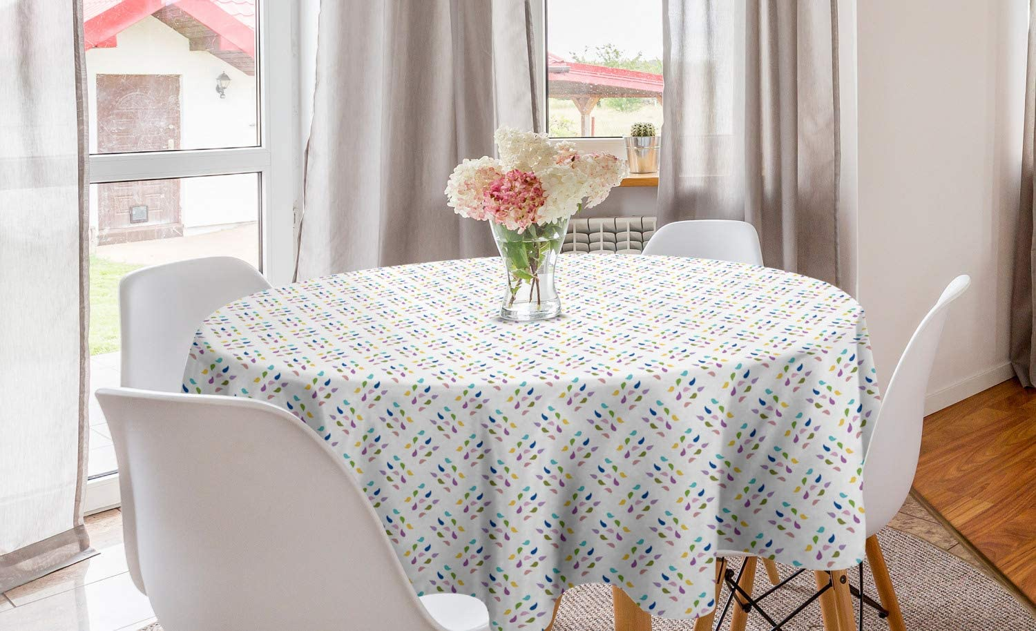 Lunarable Abstract Round Tablecloth, Droplets Like Colorful Mini Motifs Arranged Diagonally on a White Background, Circle Table Cloth Cover for Dining Room Kitchen Decoration, 60