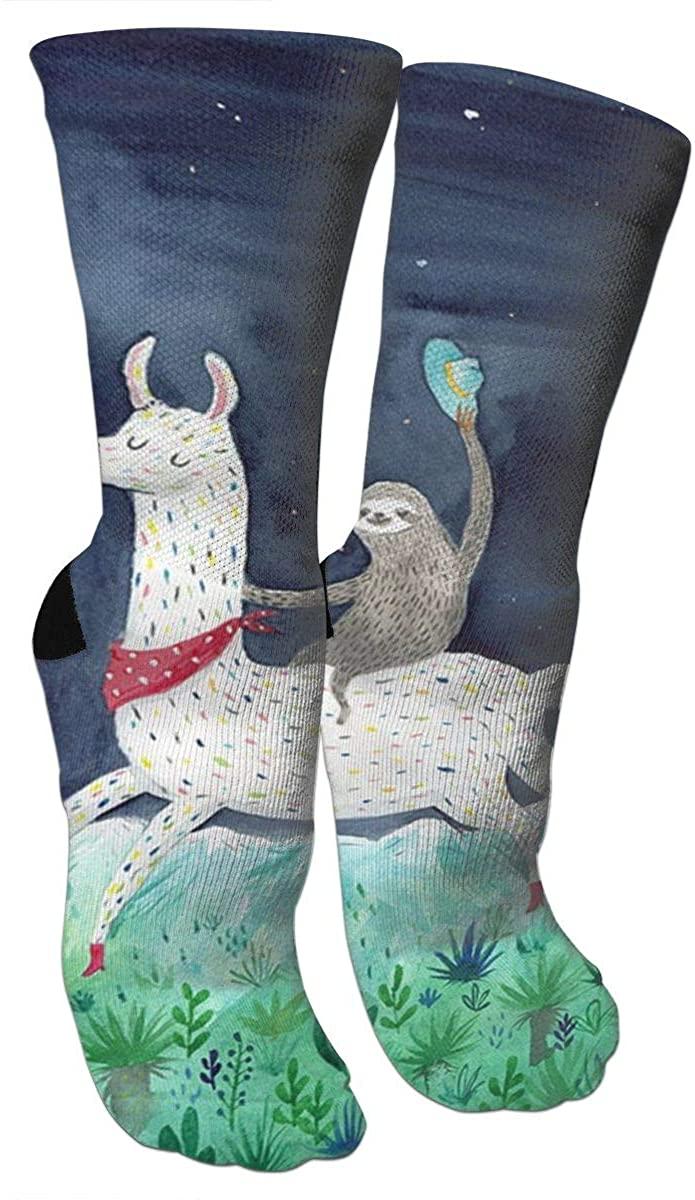 Sloth Riding Llama Compression Socks Unisex Printed Socks Crazy Patterned Fun Long Cotton Socks Over The Calf Tube