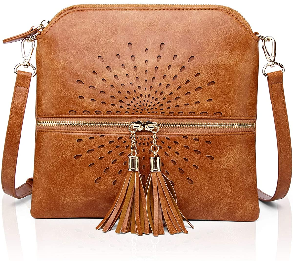APHISON Womens Crossbody Bags PU leather sun flower styles Shoulder Bag with Tassel Purse T1937
