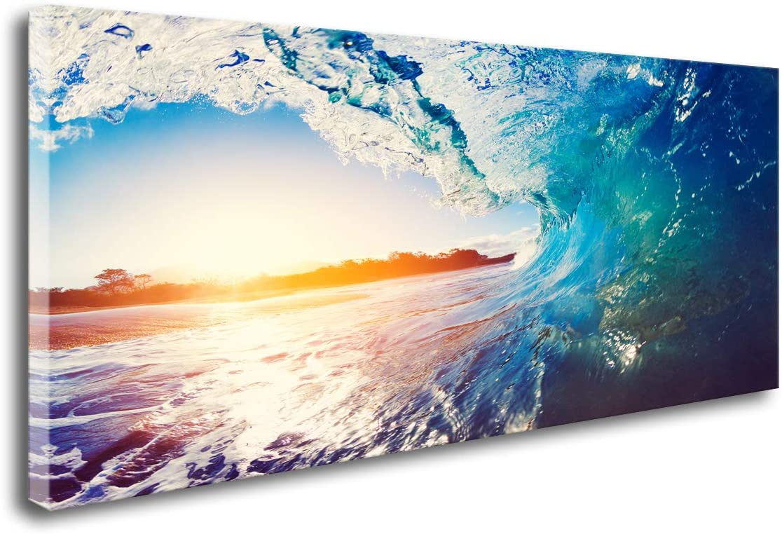 DZL Art S74162 Blue Ocean Wave Crashing at Sunrise Wall Art Canvas Prints Painting Ready to Hang for Living Room Bedroom Decor Office Wall Decor Home Decoration