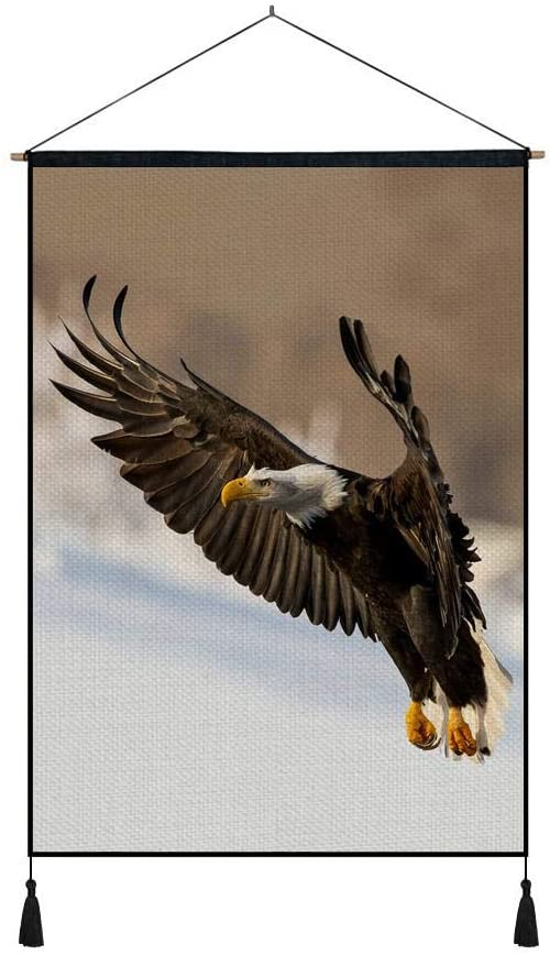 DZ.HAIKA Bald Eagle Flying (N05) - Animal Picture Art Print Cotton Linen Home Wall Decor Hanging Posters(18x26inch)