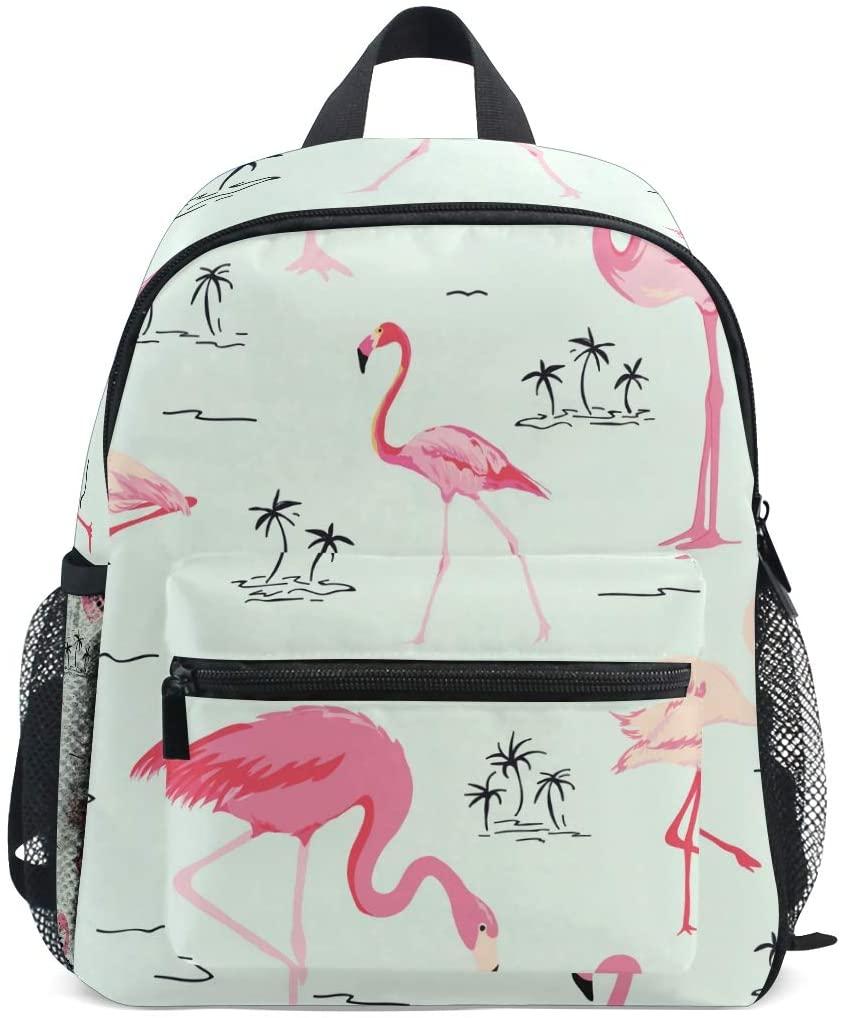OREZI Cute Kids Backpack, Retro Flamingo Toddler Schoolbag Preschool Bag Travel Bacpack for Little Boy Girl