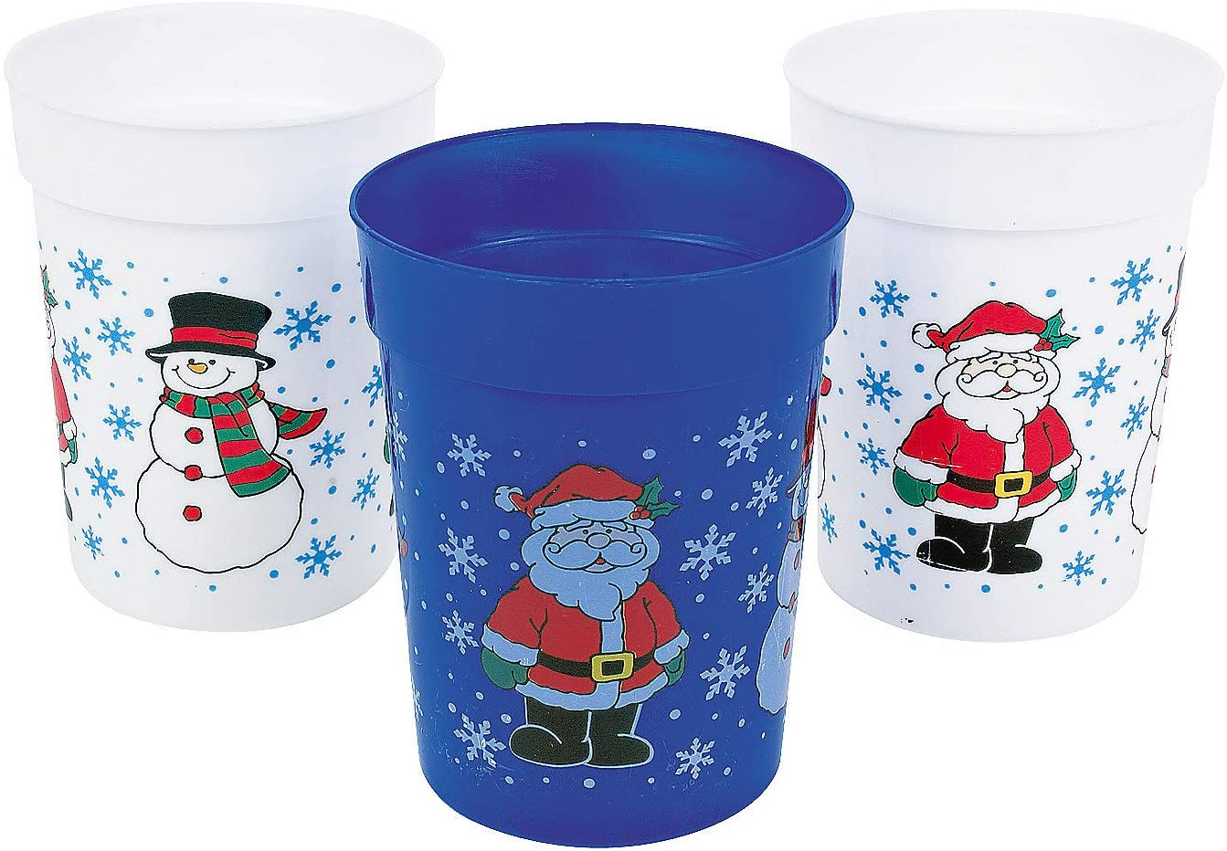 Fun Express One Dozen Plastic Holiday Cups/Christmas Cups/Christmas Tableware and Party Supplies