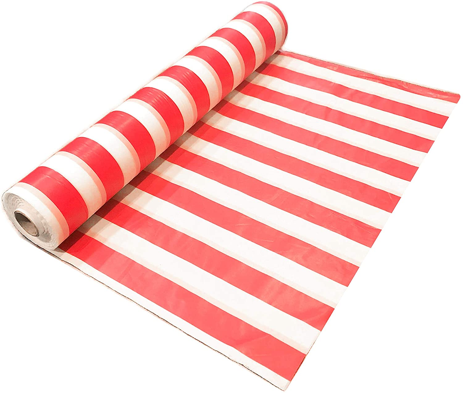 Red and White Striped Plastic Table Cover Roll for Circus Themed Party and Carnival Party Decoration - 10