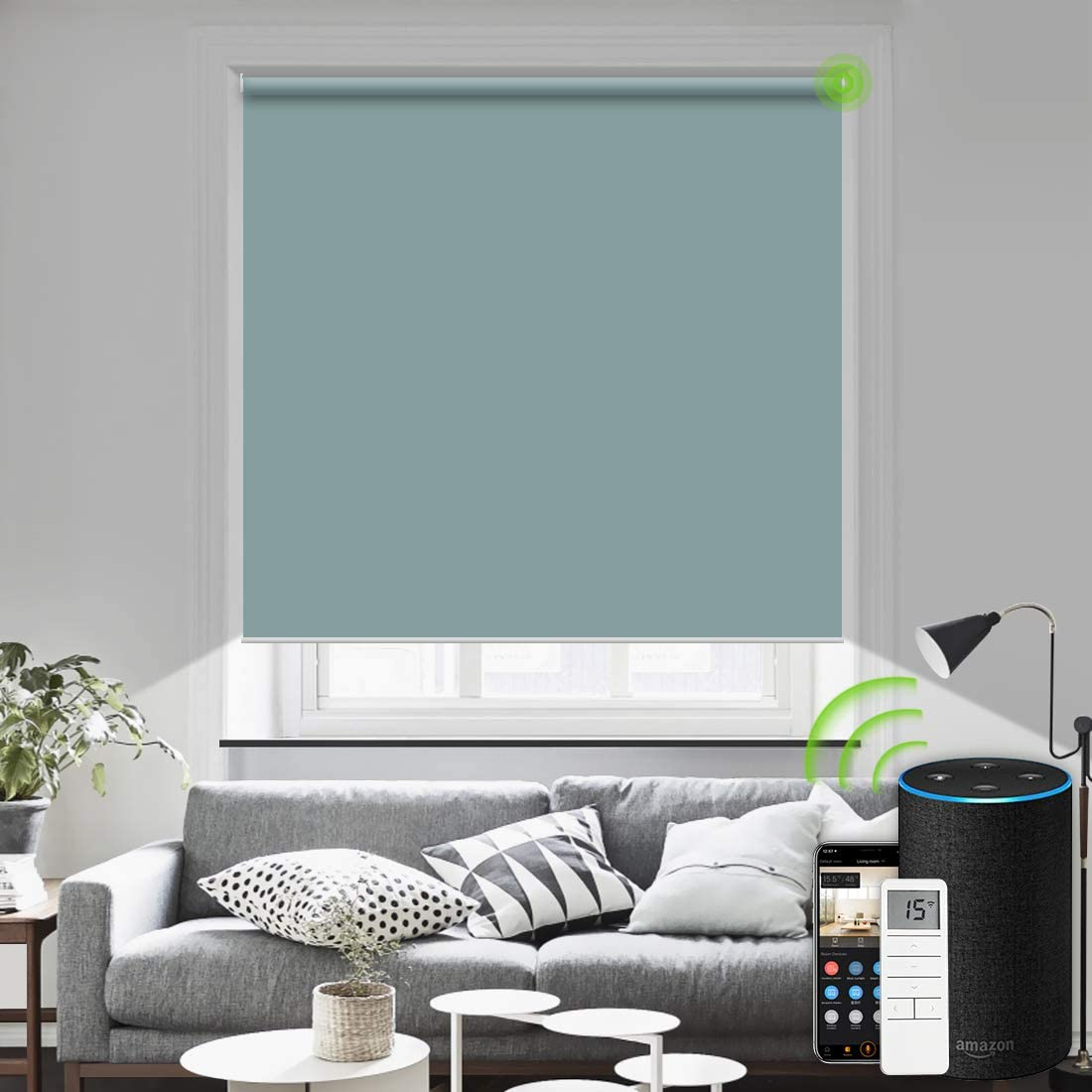 Yoolax Motorized Blind Shade for Window with Remote Control Smart Blind Shade Compatible with Alexa Motorize Roller Shade Blackout Battery Solar Powered Blind Custom up 98W X 138H(Vinyl-Lake Blue)