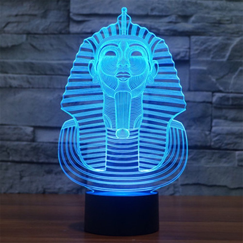 3D Pharaoh Night Light Illusion Lamp 7 Color Change LED Touch USB Table Gift Kids Toys Decor Decorations Christmas Valentines Gift