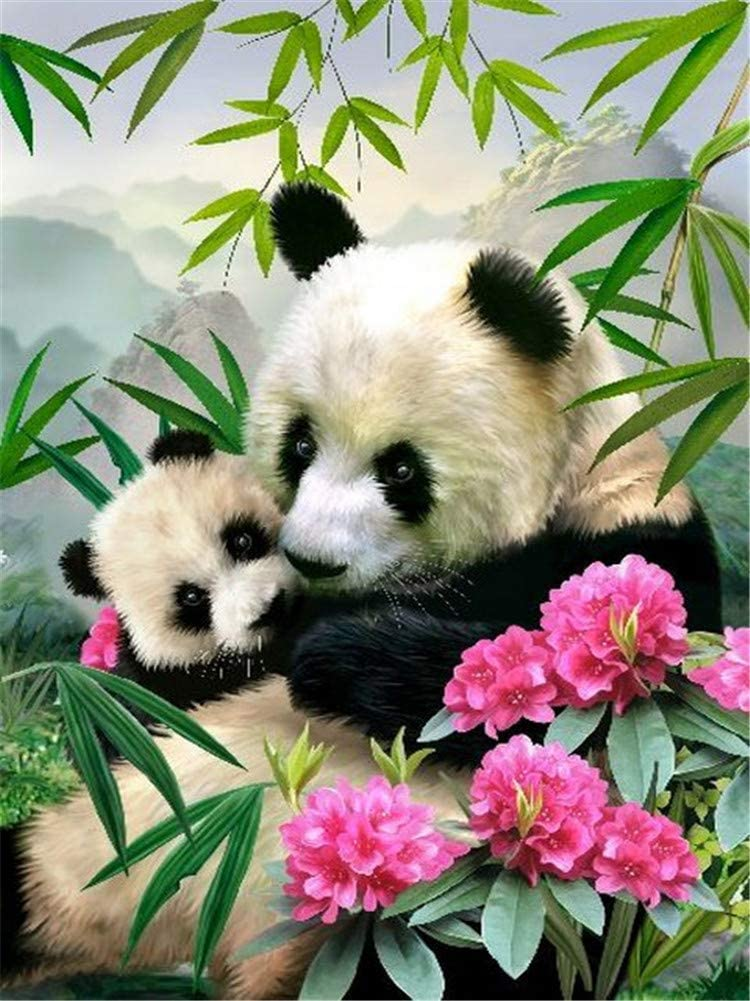 DIY Oil Painting kit, Paint by Numbers kit for Kids and Adults - Panda 16x20 inches (Without Frame)