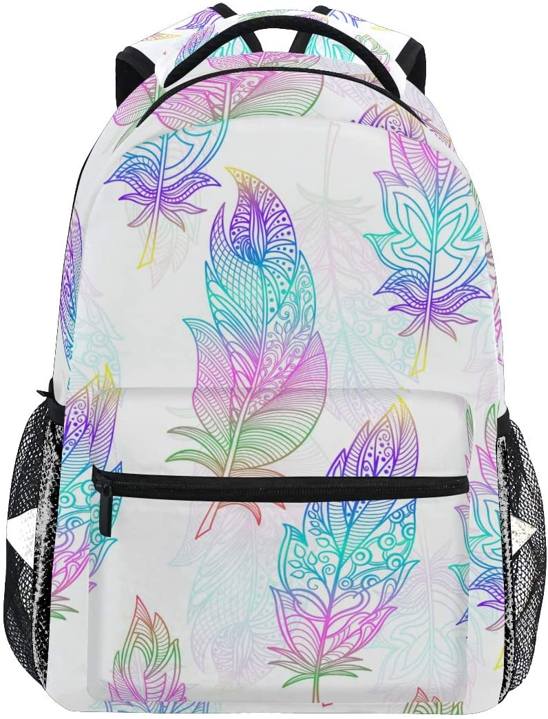 School Backpack Rainbow Feathers Bookbag for Boys Girls Teens Casual Travel Bag Computer Laptop Daypack
