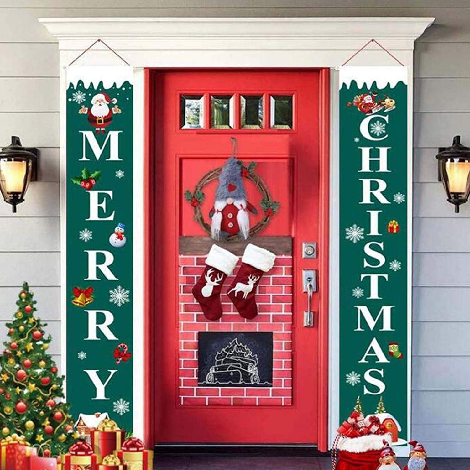 Christmas Porch Sign Merry Christmas Hanging Banners for Holiday Home Indoor Outdoor Porch Wall Front Door Christmas Hanging Decoration (A)
