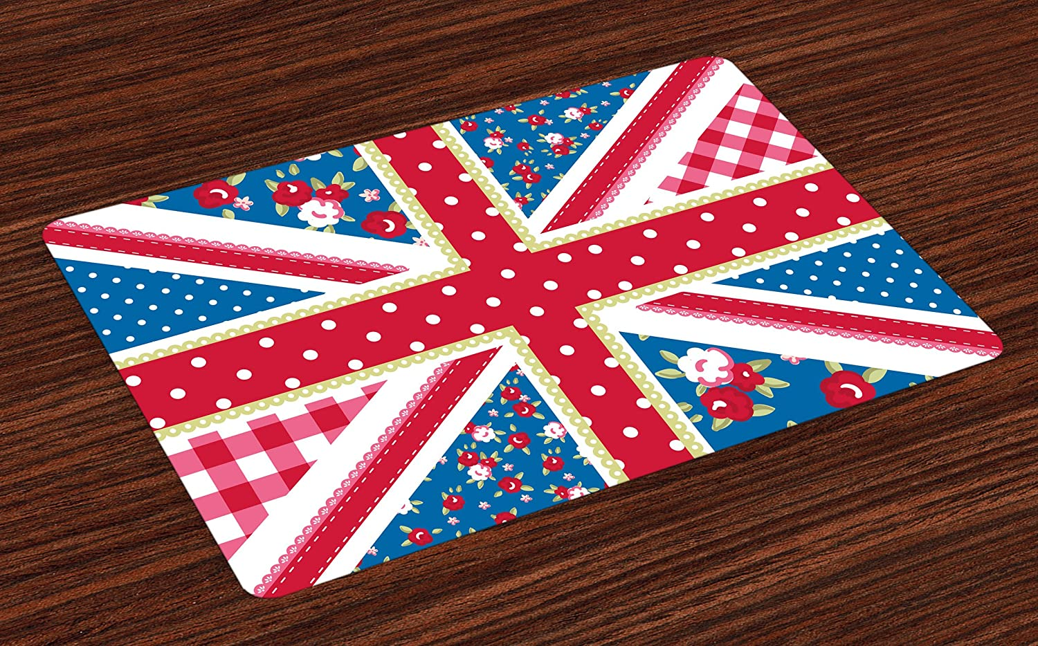 Ambesonne Shabby Flora Place Mats Set of 4, British Flag in Floral Style Retro Polka Dots Country Culture Inspired, Washable Fabric Placemats for Dining Table, Standard Size, Blue Pink