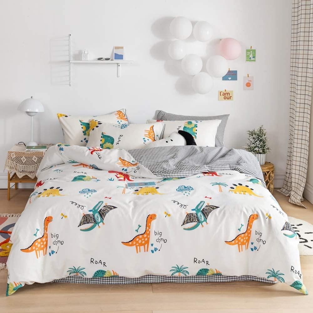 EAVD Super Cute Dinosaur Duvet Cover Kids Twin Dinosaur Bedding for Boys Girls Ultra-Soft 100% Cotton Duvet Cover with 2 Pillowcases Animal Dinosaur Comforter Cover with Zipper Closure &4 Ties