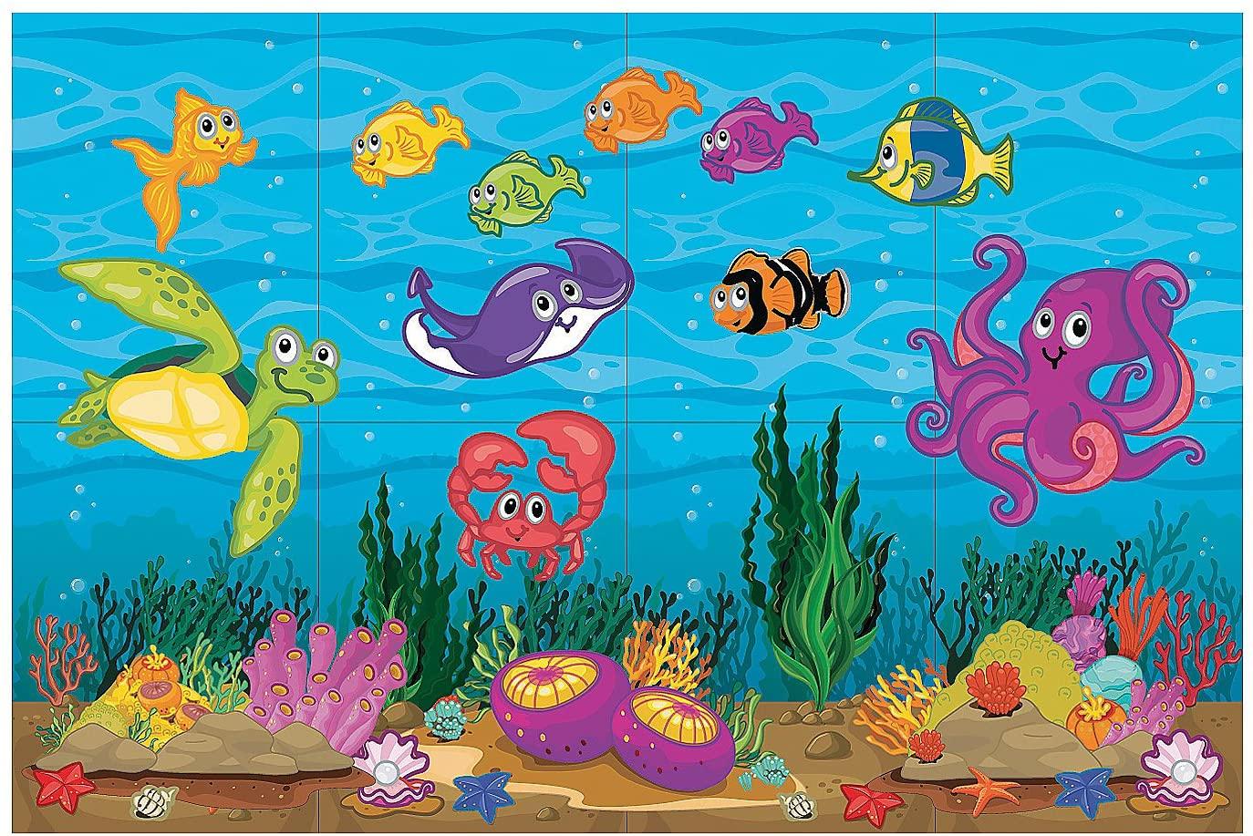 Fun Express - Under The Sea Dar Set - Party Decor - Wall Decor - Scene Setters - 4 Pieces