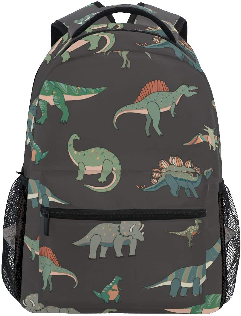 ATONO Dinosaur Cartoon Backpacks for Women Man Kids Boys Girls Student Backpack Use for School Shopping Computer Bag Travel Hiking Camping Daypack Fits 11.5 x 8 x 16 Inch Book Bag