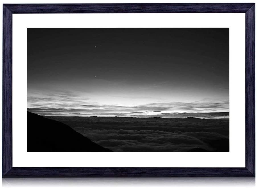 GLITZFAS Art Print Black Wood Framed(Between Sky and Earth) Wall Art Picture for Home Decoration 24x16 Inches Black and White