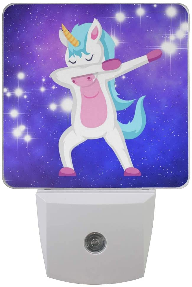 Plug in Night Light Unicorn Doing Dabbing Lamp Ultra-Slim, Cool-Touch Dusk to Dawn Sensor LED Nightlight Smart Light Automatically Lights for Kids Adults and Nursery Decor Night Light