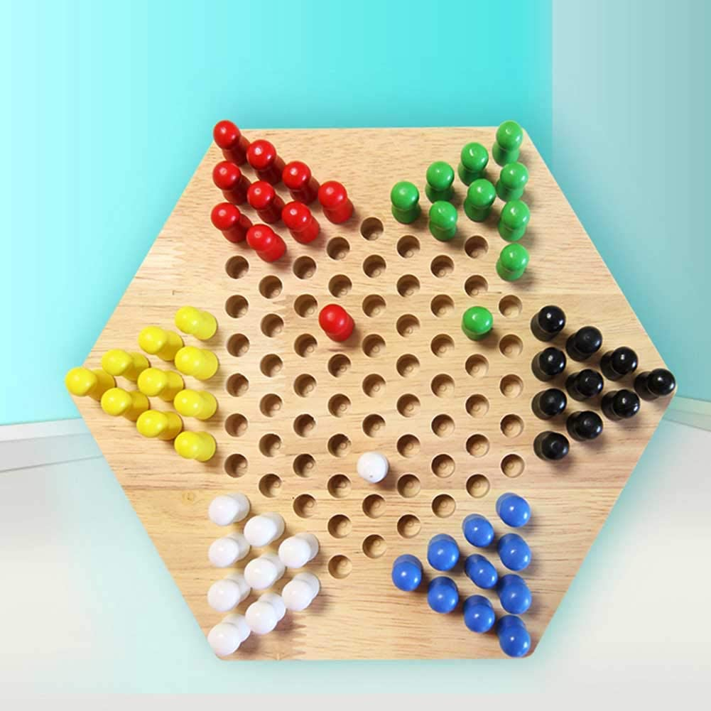 sjlerst Eco-Friendly Chinese Checkers Marbles, Portable Exquisite Safe Chinese Checkers Board Game, Lightweight for Home Kids Entertainment Children