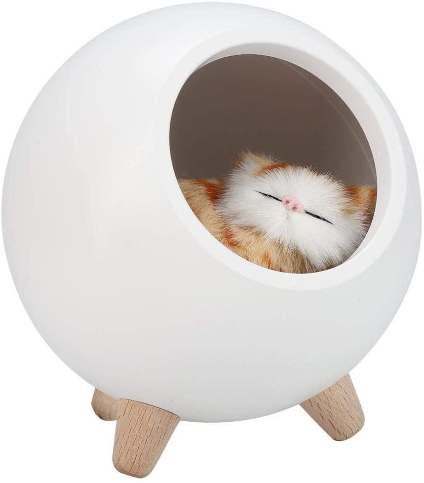 Yosooo Cat Pet House Table Lamp, Cute Cat Night Light Little Pet House Dual Power USB Charging LED Night Lamp Bedroom Lighting Atmosphere Lamp(01)