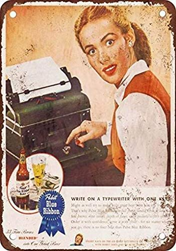 PaBoe 8 x 12 Metal Tin Sign 1945 PBR Typewriter Vintage Look Reproduction Home Wall Decor