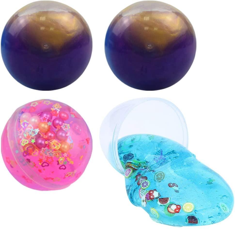 SWZY Fluffy Egg Slime Ball Kit, 2 Pack Galaxy Slime + 1 Pack Pearl Slime + 1 Pack Fruit Slice Slime