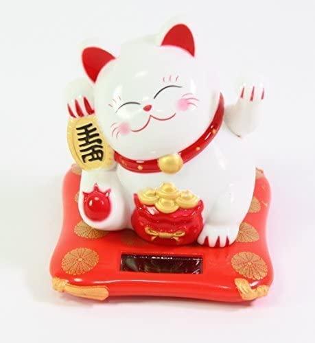Small White Happy Beckoning Fortune Happy Cat Maneki Neko Solar Toy Home Decor Business Part Gift ~WPYST