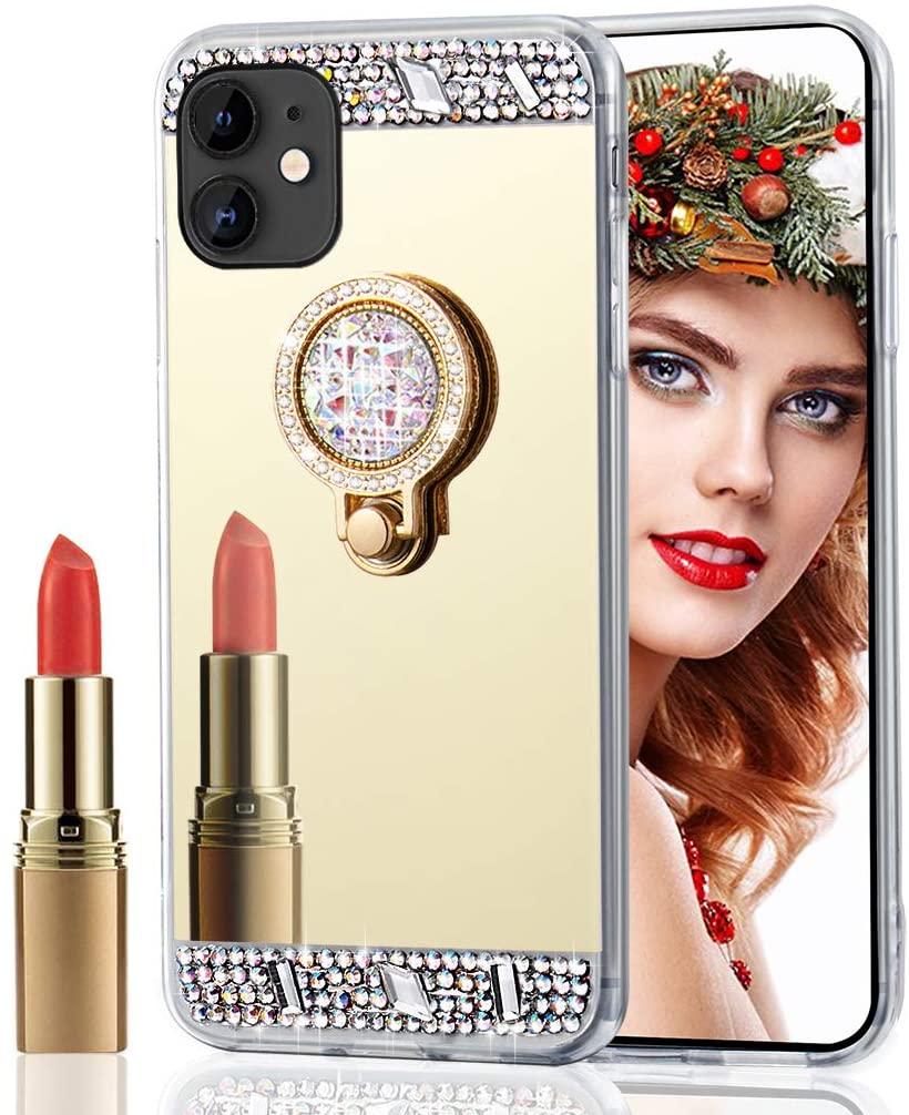 Asdsinfor iPhone 11(6.1 inch) Case Stylish Luxury Crystal Diamond Ring Bracket Makeup Mirror Case Cover for iPhone 11 Gold Ring Diamond Mirror