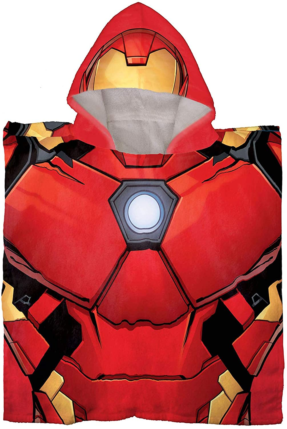 Jay Franco Marvel Avengers Iron Man Kids Bath/Pool/Beach Hooded Poncho - Super Soft & Absorbent Cotton Towel, Measures 28 x 28 Inch (Official Marvel Product)