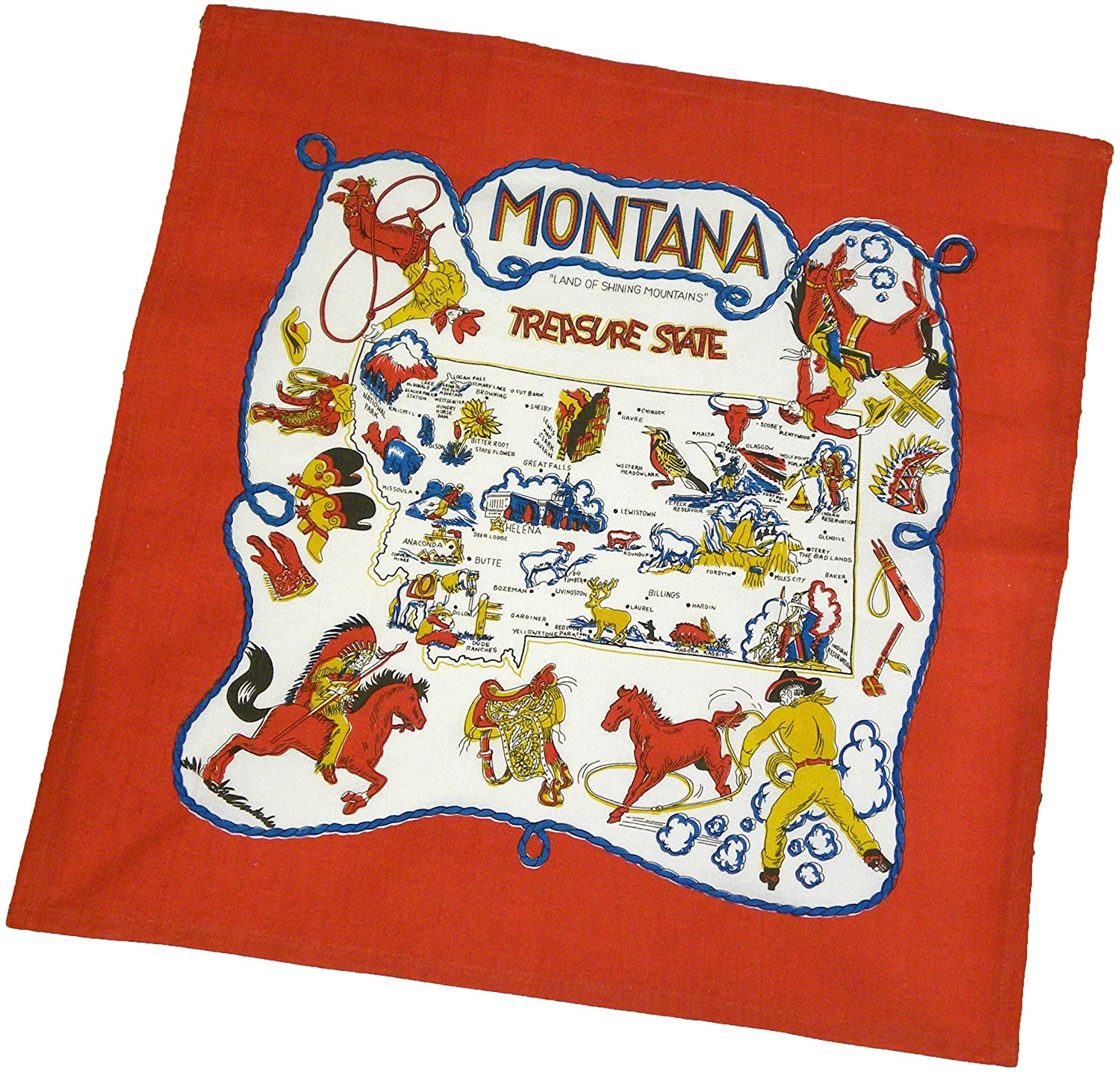The Red & White Kitchen Co Montana State Souvenir Dish Towel,Montana-Red,22 IN