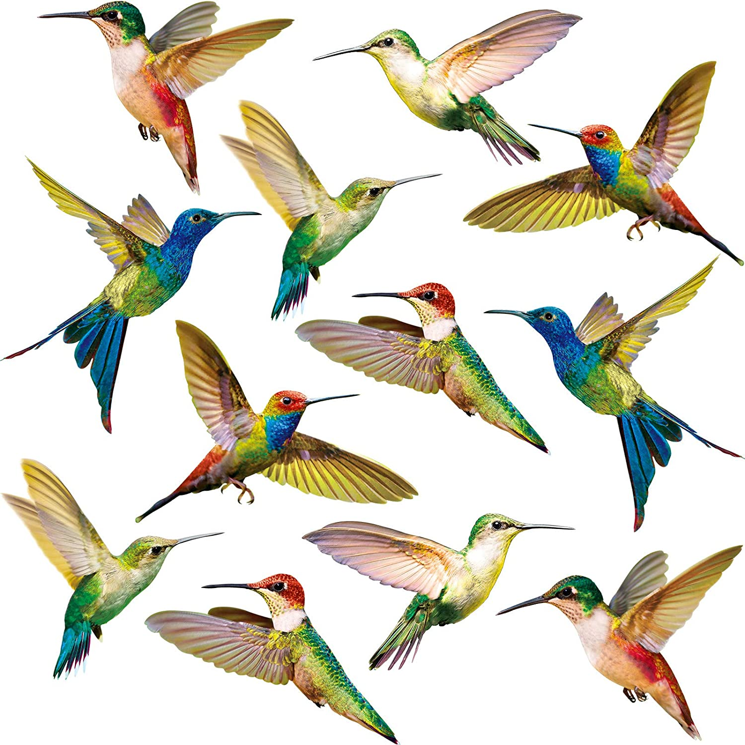 72 Pieces Hummingbird Shape Window Clings Anti-Collision Window Clings Decals to Prevent Bird Strikes on Window Glass Non Adhesive Vinyl Window Stickers
