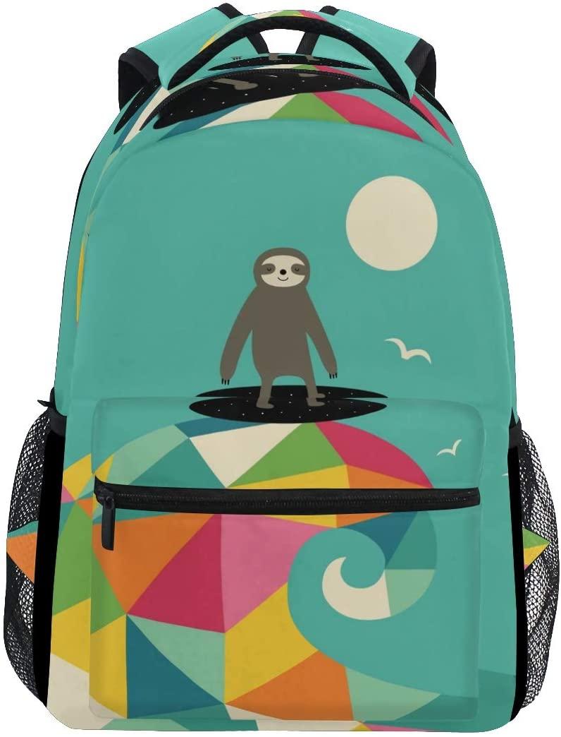 Stylish Sloth Surfing Backpack- Lightweight School College Travel Bags, ChunBB 16