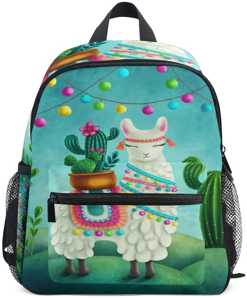Linomo Animal Llama Alpaca Lama Cactus Kids Backpack Daypack Bookbag Preschool Toddler Backpacks Kindergarten Shoulder Bag for Boys Girls Child