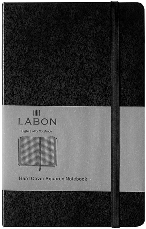 Labon's Hardcover Notebook Premium Thick Paper Journal Diary Elastic Band Expandable Paper Pocket (A5 Black, Squared)