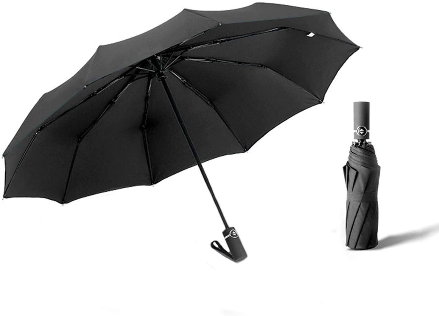 HOFUJINGSHI Compact Travel Umbrella,10 Ribs Windproof Folding Umbrella,Auto Open/Close Double Canopy Windguard Umbrella,Portable Umbrellas for Rain & Sun (Black)