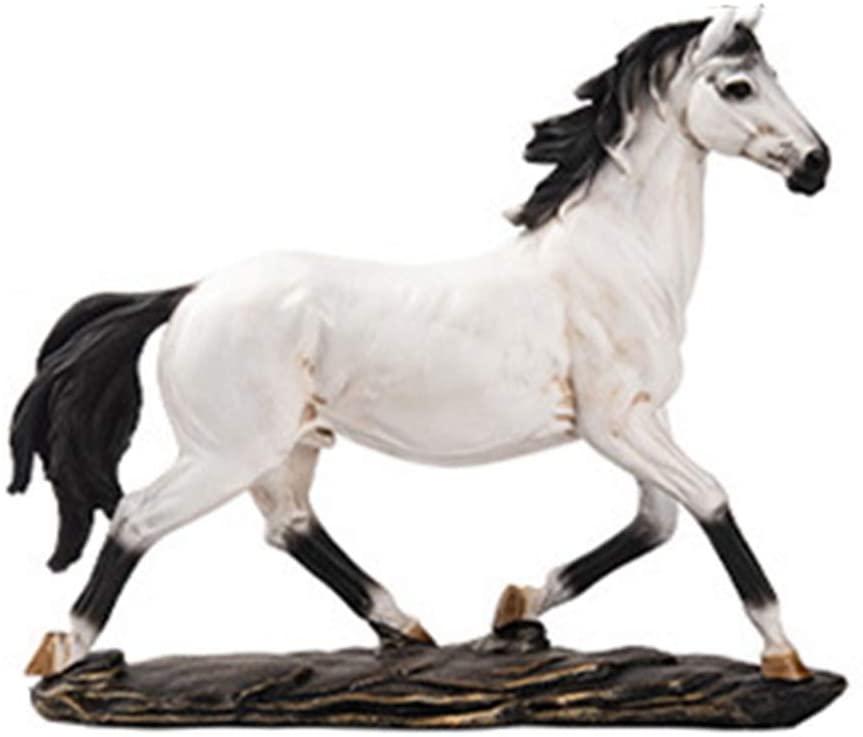 GEPIJPGEKH Nordic Creative White Dark Horse Statue War Steed Sculptures Modern Home Decor Horse Figure Resin Ornaments Gift