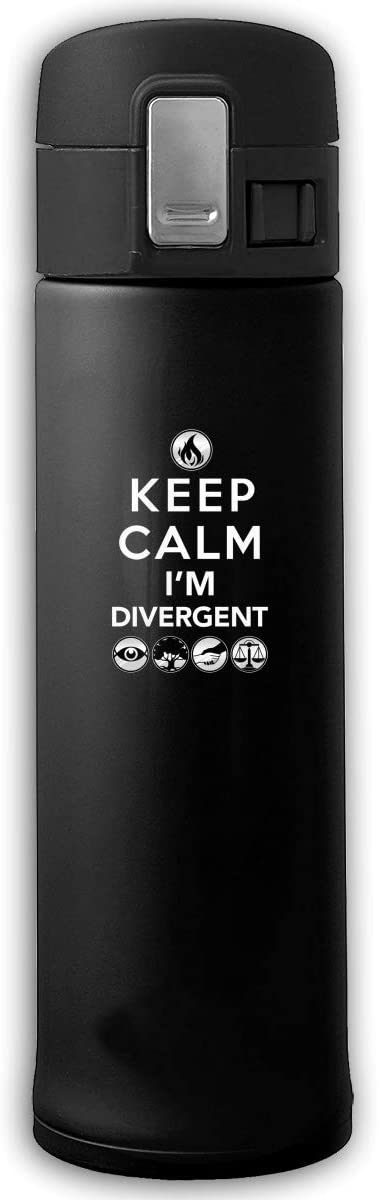 KALISA Keep Calm Im Divergent Stainless Steel Vacuum Double-Insulated Water Bottle Thermos Cup,17 Oz