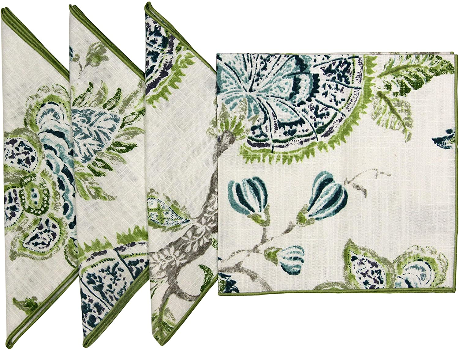 """18""""x18 Cotton Printed Turquoise & Green Floral Fabric Napkins, Set of 4"""