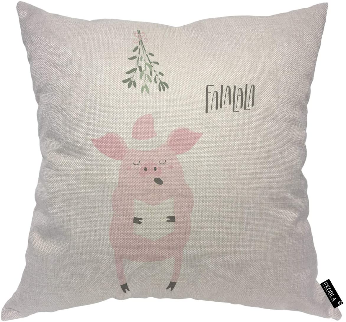 EKOBLA Pink Pig Throw Pillow Covers Santa Hat Singing Lettering Quote Funny Cartoon Carol Hand Drawn Decorative Square Cushion Case for Men Women Boys Girls Home Decor Cotton Linen 18x18 Inch