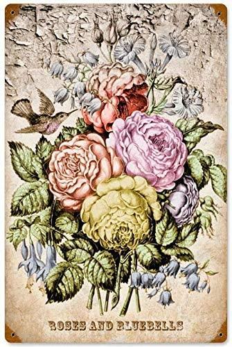 Retro Vintage Roses Bluebells Hummingbird Metal Sign Advertisement Decor