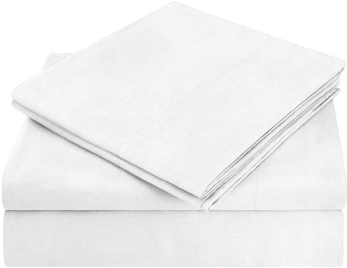 Janvi Linen Italian Finish 1200 Thread Count Lightweight 100% Heavy Egyptian Cotton Sheet Set Extra Long DEEP Pocket, Queen, White Solid, Premium Quality (Fits 18-20