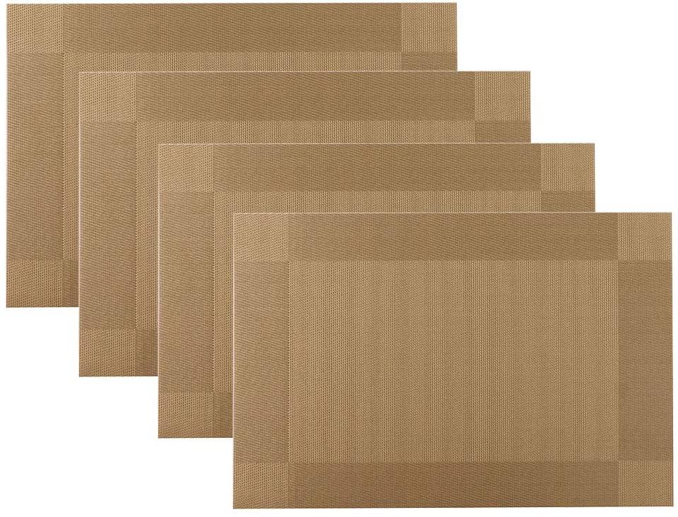 WeiSiLi Placemat, Crossweave Woven Vinyl Non-Slip Insulation Placemat Washable Table Mats Set(4pcs) (Glod)